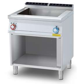 Bain marie threephase on open cabinet - Bowl for GN 2/1 15h, water loading cock, floor draining (included 1 Head end filler strip mod.TPA-7)