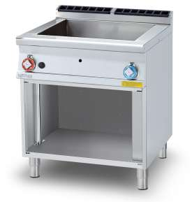 Gas bain-marie on open cabinet - Bowl for GN 2/1 + 2 x GN 1/3 h.15 - Water loading tap and floor draining (included 1 Head end filler strip mod.TPA-9)