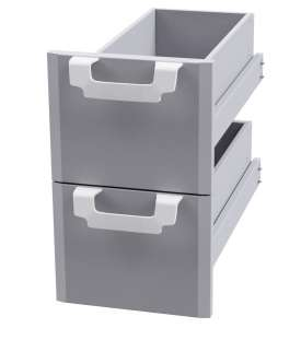 Drawer set 300 N. 2 drawers with 2 inox containers, telescopic guides - magnet.