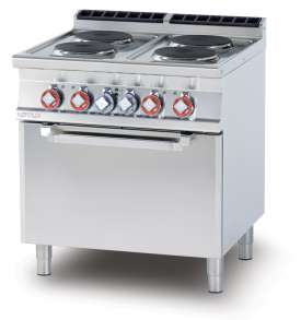 Electric range - N. 4 plates Traditional electric oven cm. 67x55x34h, temp: 50÷300°C, with 1 grid cm.65x53 GN2/1 (included 1 Head end filler strip mod.TPA-7)
