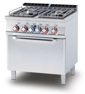 Gas Range - N. 4 burners Traditional gas-oven cm. 67x55x34h, temp: 150÷300°C, with 1 grid cm.65x53 GN2/1 (included 1 Head end filler strip mod.TPA-7)