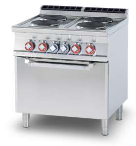 Electric range - N. 4 plates Traditional electric oven cm. 67x73x34h, temp: 50÷300°C, with 1 grid cm.65x71 GN2/1 (included 1 Head end filler strip mod.TPA-9)