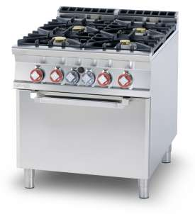 Gas Range - N. 4 burners Traditional gas-oven cm. 67x73x34h, temp: 150÷300°C, with 1 grid cm.65x71 GN2/1 (included 1 Head end filler strip mod.TPC-9)