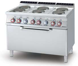 Electric Range - N. 6 plates Traditional electric oven cm. 107x55x34h, temp: 50÷300°C, with 1 grid cm.105x53  (included 1 Head end filler strip mod.TPA-7)
