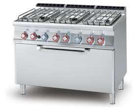 Gas Range - N. 6 burners Traditional gas-oven cm. 107x55x34h, temp: 150÷300°C, with 1 grid cm.105x53  (included 1 Head end filler strip mod.TPA-7)
