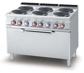 Electric Range - N. 6 plates Traditional electric oven cm. 107x73x34h, temp: 50÷300°C, with 1 grid cm.105x71  (included 1 Head end filler strip mod.TPA-9)