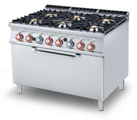 Gas Range - N. 6 burners Traditional gas-oven cm. 107x73x34h, temp: 150÷300°C, with 1 grid cm.105x71  (included 1 Head end filler strip mod.TPC-9)