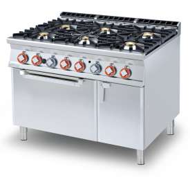 Gas Range - N. 6 burners Traditional gas-oven GN cm. 67x73x34h, temp: 150÷300°C, with 1 grid cm.65x71 GN2/1 - Neutral cabinet with door (included 1 Head end filler strip mod.TPC-9)