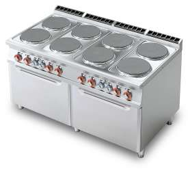 Electric range - N. 8 plates - 2 Traditional electric oven cm. 67x73x34h, temp: 50÷300°C, with 2 grids cm.65x71 GN2/1 (included 1 Head end filler strip mod.TPA-9)