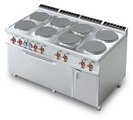 Electric Range - N. 8 plates Traditional electric oven cm. 107x73x34h, temp: 50÷300°C, with 1 grid cm.105x71 - Neutral cabinet with door (included 1 Head end filler strip mod.TPA-9)