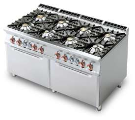 Gas Range - N. 8 burners - 2 Traditional gas-oven cm. 67x73x34h, temp: 150÷300°C, with 2 grids cm.65x71 GN2/1  (included 1 Head end filler strip mod.TPC-9)