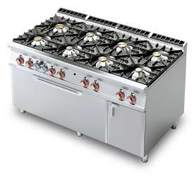 Gas Range - N. 8 burners Traditional gas-oven cm. 107x73x34h, temp: 150÷300°C, with 1 grid cm.105x71 - Neutral cabinet with door (included 1 Head end filler strip mod.TPC-9)