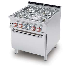 Water range - N. 4 burners Traditional gas-oven cm. 67x55x34h, temp: 150÷300°C, with 1 grid cm.65x53 GN2/1 - Water loading tap + overflow device (included 1 Head end filler strip mod.TPA-7)