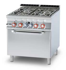 Water range - N. 4 burners Traditional gas-oven cm. 67x73x34h, temp: 150÷300°C, with 1 grid cm.65x71 GN2/1 - Water loading tap + overflow device (included 1 Head end filler strip mod.TPA-9)