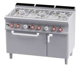 Water range - N. 6 burners - Traditional gas-oven cm. 67x73x34h, temp: 150÷300°C, with 1 grid cm.65x71 GN2/1 - Neutral cabinet with door - Water loading tap + overflow device (included 1 Head end filler strip mod.TPA-9)