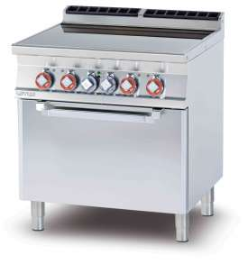 Electric range N. 4 plates ceramic glass cm. 75 x 57 - traditional elettric oven cm. 67x55x34h, temp: 50÷300°C, with 1 grid cm.65x53 GN2/1 (included 1 Head end filler strip mod.TPA-7)