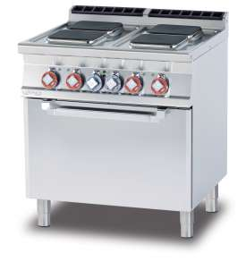 Electric range - N. 4 square plates Traditional electric oven cm. 67x55x34h, temp: 50÷300°C, with 1 grid cm.65x53 GN2/1 (included 1 Head end filler strip mod.TPA-7)