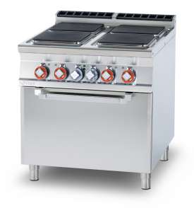 Electric range - N. 4 square plates Traditional electric oven cm. 67x73x34h, temp: 50÷300°C, with 1 grid cm.65x71 GN2/1 (included 1 Head end filler strip mod.TPA-9)