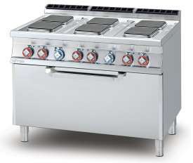 Electric Range - N. 6 square plates Traditional electric oven cm. 107x55x34h, temp: 50÷300°C, with 1 grid cm.105x53  (included 1 Head end filler strip mod.TPA-7)