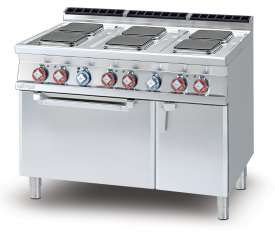 Electric range - N. 6 square plates Traditional electric oven cm. 67x55x34h, temp: 50÷300°C, with 1 grid cm.65x53 GN2/1 - Neutral cabinet with door (included 1 Head end filler strip mod.TPA-7)