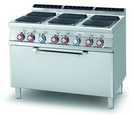 Electric Range - N. 6 square plates Traditional electric oven cm. 107x73x34h, temp: 50÷300°C, with 1 grid cm.105x71  (included 1 Head end filler strip mod.TPA-9)