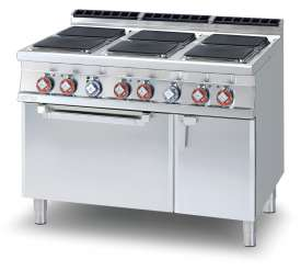 Electric range - N. 6 square plates Traditional electric oven cm. 67x73x34h, temp: 50÷300°C, with 1 grid cm.65x71 GN2/1 - Neutral cabinet with door (included 1 Head end filler strip mod.TPA-9)