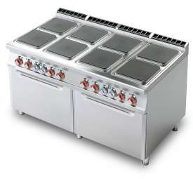 Electric range - N. 8 square plates - 2 Traditional electric oven cm. 67x73x34h, temp: 50÷300°C, with 2 grids cm.65x71 GN2/1 (included 1 Head end filler strip mod.TPA-9)