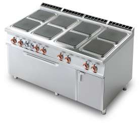 Electric Range - N. 8 square plates - Traditional electric oven cm. 107x73x34h, temp: 50÷300°C, with 1 grid cm.105x71 - Neutral cabinet with door (included 1 Head end filler strip mod.TPA-9)