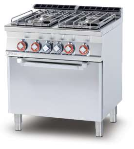 Gas Range - N. 4 burners - traditional elettric oven cm. 67x55x34h, temp: 50÷300°C, with 1 grid cm.65x53 GN2/1 (included 1 Head end filler strip mod.TPA-7)