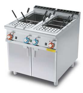 Gas pasta cooker 40+40 lts 2 Tanks cm. 30,7x50,9x32,7h. Water loading, tap + overflow device and floor draining  (BASKETS EXCLUDED) (included 1 Head end filler strip mod.TPA-9)