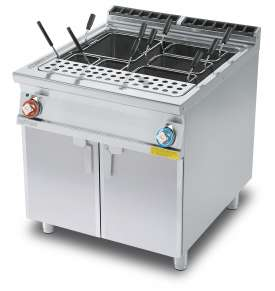 Pasta cooker threephase 80 lts. - Tank cm. 62x50,9x32,7h. Water loading tap + overflow device and floor draining  (BASKETS EXCLUDED) (included 1 Head end filler strip mod.TPA-9)