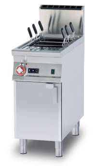 Powerfull Gas pasta cooker 40 lts. - Tank cm. 30,7x50,9x32,7h. Automatic Water loading with level sensor - overflow device and floor draining (BASKETS EXCLUDED) (included both Heads end filler strip)