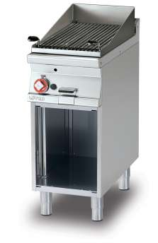 Charcoal grill gas on open cabinet Stainless steel grill cm. 38x52  (included 1 Head end filler strip mod.TPA-7)