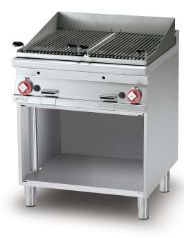 Charcoal grill gas on open cabinet N. 2 Stainless steel grill cm. 38x52. 2 cooking areas (included 1 Head end filler strip mod.TPA-7)