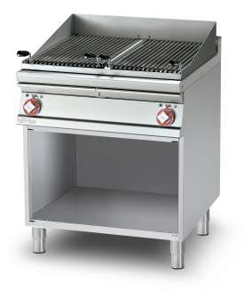 Grill threephase on open cabinet - N. 2 stainless steel adjustable grills cm. 38x66 - 2 cooking areas (included 1 Head end filler strip mod.TPA-9)