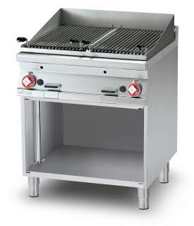 Charcoal grill gas on open cabinet - N. 2 stainless steel adjustable grills cm. 38x66 - 2 cooking areas (included 1 Head end filler strip mod.TPA-9)
