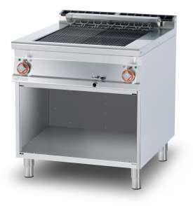 CONTACT Grill threephase  on open cabinet - rotable stainless steel grill cm. 55x63 - 2 cooking areas (included 1 Head end filler strip mod.TPA-9)