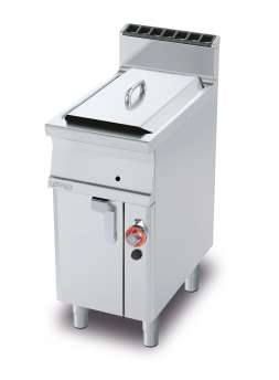 Gas Fryer 13 lts - Bowl cm. 24x35x38h - 1 basket cm. 21x30x12h. Sieve and lid for pan. Drip tray with sieve. Production: 10 kg/h (included both Heads end filler strip)