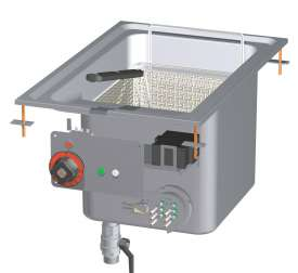 Fryer threephase 18 lts - Bowl cm. 31x34x33h - 1 basket cm. 28x29x15h. Sieve and lid for pan. Production: 15 kg/h