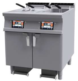 "Electric electronic Fryer with a 7"" TouchScreen. Conservation at 110 °C and preworking at 160 °C with or without Melting. Possibility to store in the memory up to 100 programs. Oil presence sensor and maximum level sensor. 2 bowls 18 lts cm.31x34x33h - 4 baskets cm.13,5x29x15h. 2 Sieve and lid for pan. 2 Oil collection basin with support on wheels with sieve 5 microns (pcs.100 included). Production: 54 kg/h (included 1 Head end filler strip mod.TPA-9)"