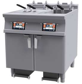 "Electric electronic Fryer with a 7"" TouchScreen. Conservation at 110 °C and preworking at 160 °C with or without Melting. Possibility to store in the memory up to 100 programs. Oil presence sensor and maximum level sensor. 2 Pump for filter the hot oil max 180°C, Tank cleaning, Tank emptying. 4 Lifter for baskets integrated. 2 bowls 18 lts cm.31x34x33h - 4 baskets cm.13,5x29x15h. 2 Sieve and lid for pan. 2 Oil collection basin with support on wheels with sieve 5 microns (pcs.100 included). Production: 54 kg/h (included 1 Head end filler strip mod.TPA-9)"