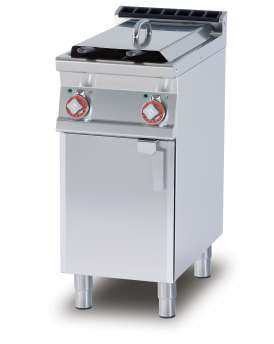 Fryer threephase 8+8 lts - 2 Bowls cm. 14,8x35x32,7h - 2 baskets cm. 12x30x15h. Sieve and lid for pan. 2 drip tray with sieves. Production: 12 kg/h (included 1 Head end filler strip mod.TPA-7)