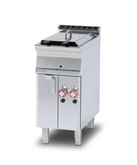 Gas Fryer 8+8 lts - 2 pans cm. 15x35x36h 2 baskets cm. 12x30x15h.  Sieve and lid for pan. 2 drip trays with sieves. Production: 12 kg/h (included 1 Head end filler strip mod.TPA-7)
