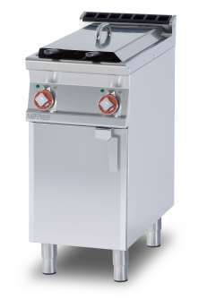 Fryer threephase 8+8 lts - 2 Bowls cm. 14,8x35x32,7h - 2 baskets cm. 12x30x15h. Sieve and lid for pan. Production: 12 kg/h (Drip tray excluded, see mod: BF30) (included 1 Head end filler strip mod.TPA-9)