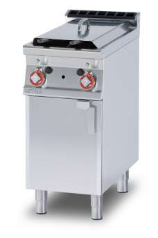 Gas Fryer 8+8 lts - 2 pans cm. 15x35x36h 2 baskets cm. 12x30x15h.  Sieve and lid for pan. Production: 12 kg/h (Drip tray excluded, see mod: BF30) (included 1 Head end filler strip mod.TPA-9)