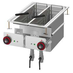 Fryer threephase 8+8 lts - 2 Bowls cm. 14,8x35x32,7h - 2 baskets cm. 12x30x15h. Sieve and lid for pan. Production: 12 kg/h