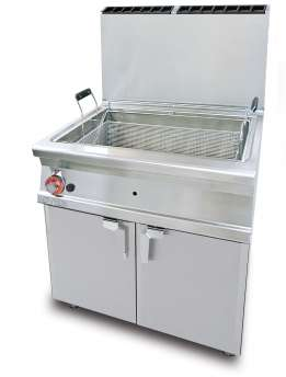 Gas Fryer 45 lts - Bowl cm. 70x38x38h - 1 basket cm. 65x33x17h. Sieve and lid for pan. Drip tray with sieve. Production: 40 kg/h (included both Heads end filler strip)