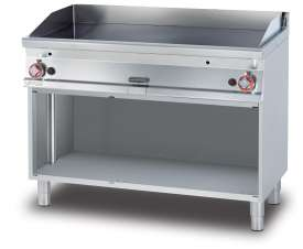 Gas Fry-top smooth griddle, on open cabinet, plate cm.116x51 - 2 cooking areas (included 1 Head end filler strip mod.TPA-7)