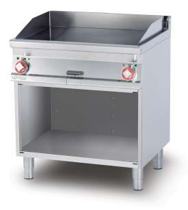 Electric Fry-top smooth griddle, on open cabinet, plate cm.76x51 - 2 cooking areas (included 1 Head end filler strip mod.TPA-7)