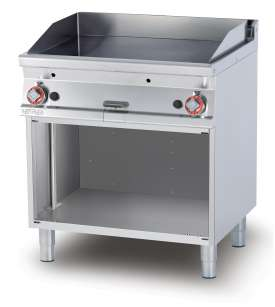 Gas Fry-top smooth griddle, on open cabinet, plate cm.76x51 - 2 cooking areas (included 1 Head end filler strip mod.TPA-7)